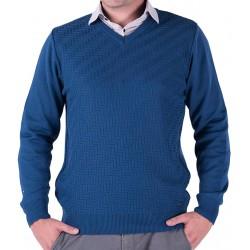 Niebieski sweter v-neck Lasota Markus - atlantic
