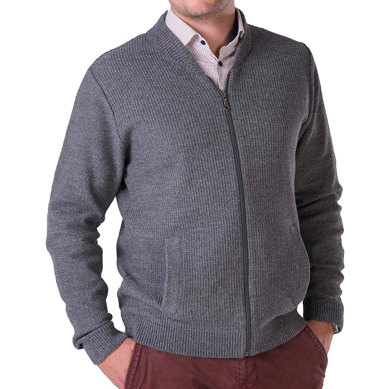 Szaro-popielaty sweter rozpinany Lasota Wiktor