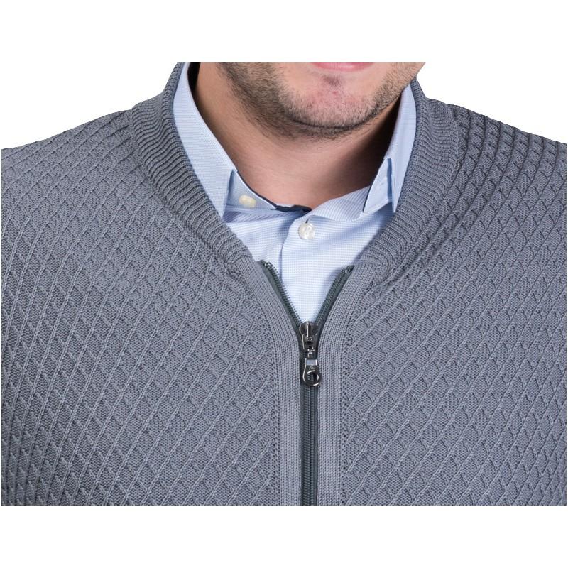 Sweter Lasota Parys rozpinany - szary-popiel