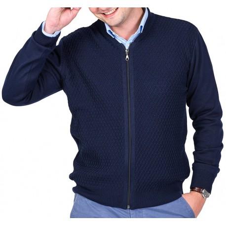 Granatowy sweter męski Lasota Parys rozpinany