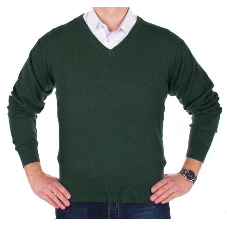 Sweter v-neck Lidos 1003 - butelkowa zieleń