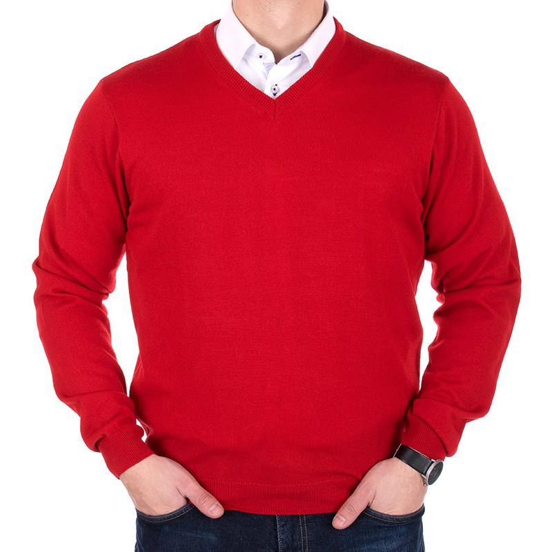 Czerwony sweter bawełniany Adriano Guinari w szpic
