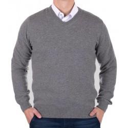 Wełniany szary sweter Massimo w szpic rozmiar S M L XL 2XL 3XL 4XL