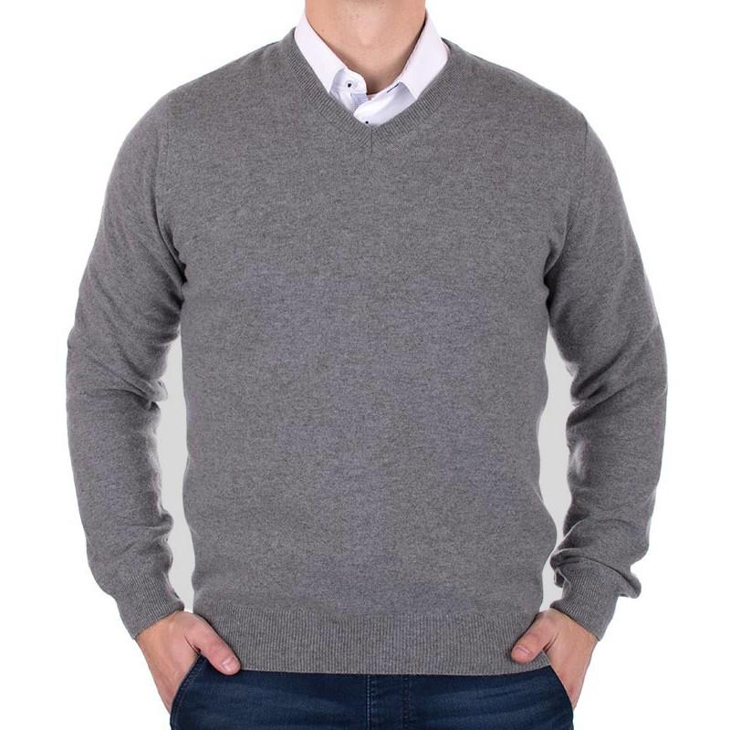 Wełniany sweter Massimo v-neck - szary
