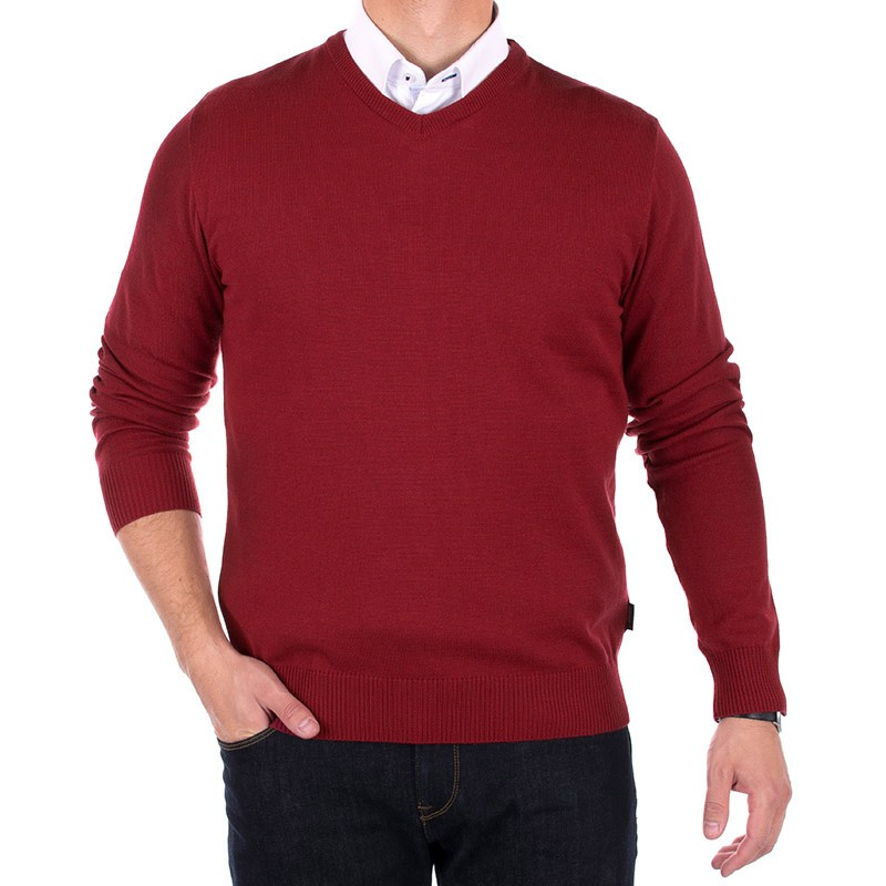 Bordowy sweter Massimo w szpic - wełniany