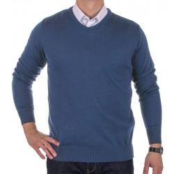 Niebieski sweter wełniany Massimo w szpic roz. S M L XL 2XL 3XL 4XL