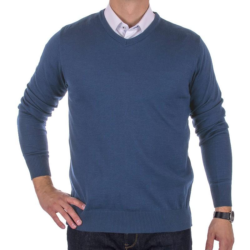 Wełniany sweter Massimo w szpic - niebiesko-granatowy