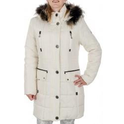kurtka zimowa z lisem Biba Klara kremowa rozmiar 38 40 42