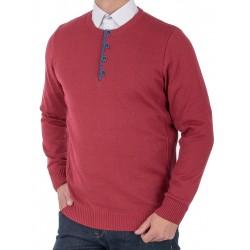Bordowy sweter Lidos 4535 u-neck z guzikami roz. M L XL 2XL 3XL