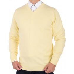 Bawełniany sweter v-neck Adriano Guinari żółty roz. S M L XL 2XL 3XL