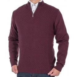 Sweter Lasota Filip polo krótki zamek śliwkowy M L XL 2XL 3XL