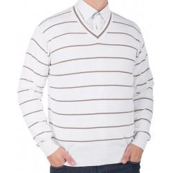 Biały sweter Kings 139*5521 brązowe poprzeczne paski r M L XL 2XL 3XL