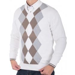 Biały sweter Kings 139*5522 w brązowe i szare romby r. M L XL 2XL 3XL