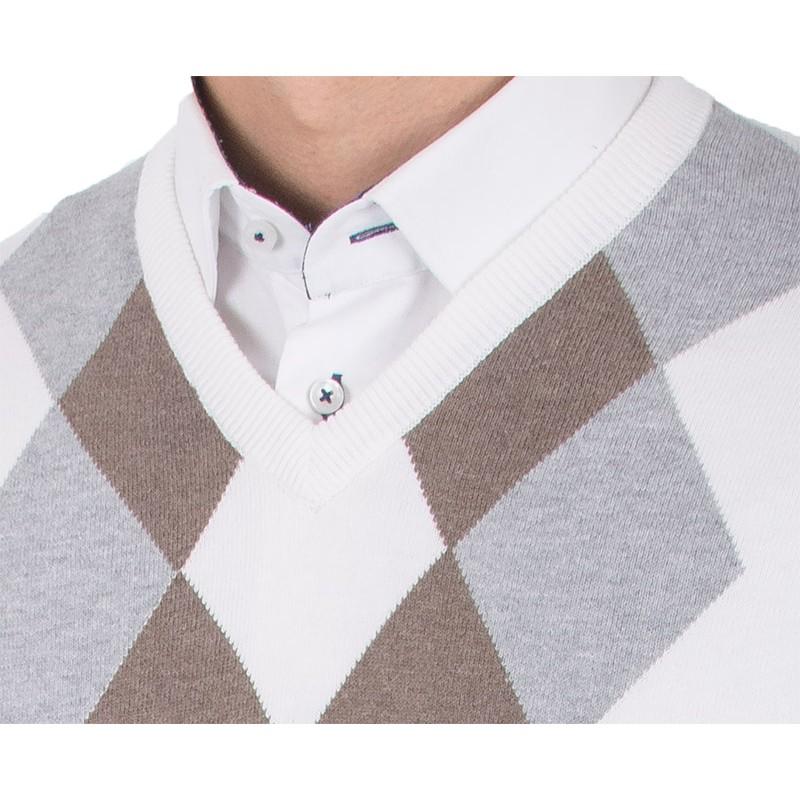 Biały sweter v-neck Kings 139*5522 w romby