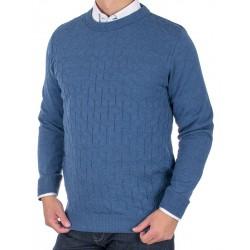 Sweter u-neck Lidos 4534 indygo jeansowy rozmiar M L XL 2XL 3XL