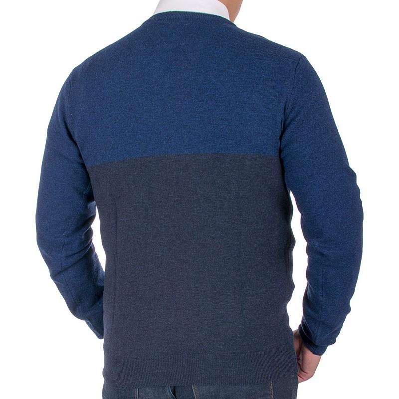 Sweter v-neck Tris Line 1910V granatowy