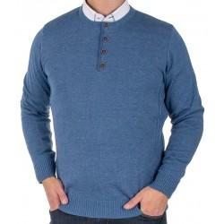 Jeansowy sweter Lidos 4535 indygo z guzikami roz. M L XL 2XL 3XL