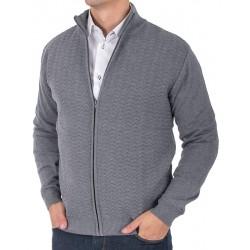 Sweter rozpinany ze wzorem Lidos 4529 szary rozmiar M L XL 2XL 3XL