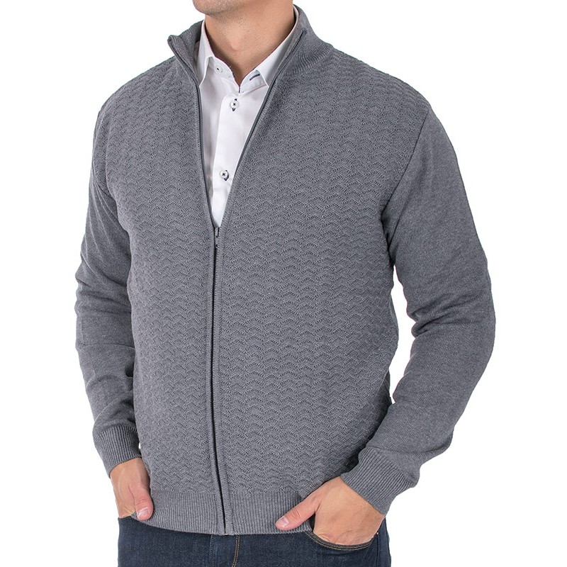 Sweter rozpinany ze wzorem Lidos 4529 szary