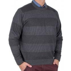 Grafitowy sweter u-neck Kings 10T*231507 w pasy bawełna M L XL 2XL 3XL
