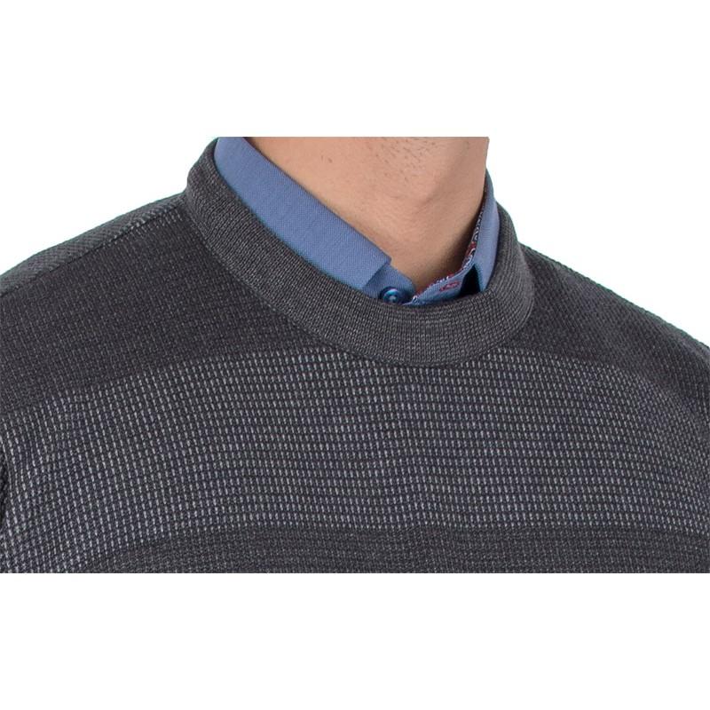 Grafitowy sweter u-neck Kings 10T*231507 w pasy
