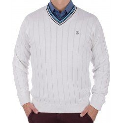 Biały sweter Kings 167*3048601 w pionowe paski r. M L XL 2XL 3XL 4XL