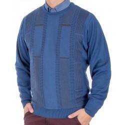Niebieski sweter u-neck Kings 10T 542507 bawełniany r. M L XL 2XL 3XL