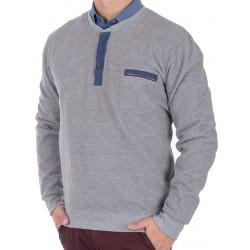 Sweter z guzikami Lidos L-18-04 u-neck popielaty M L XL 2XL 3XL