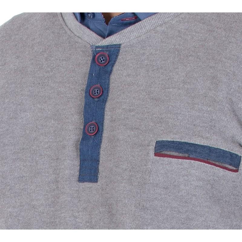 Sweter z guzikami Lidos L-18-04 popielaty