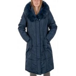 płaszcz z lisem Modena Styl Majorka 2 granat rozmiar 42 44 46 48 50