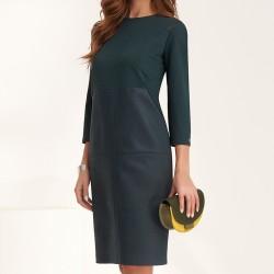 sukienka Feria FE208-4-13 gładka ciemno zielony rozmiar 38 42 44 48