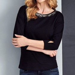 bluzka damska Sunwear A34-4-02 czarna rozmiar 38 40 42 44 46 48