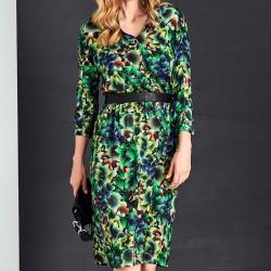 sukienka w kwiaty Sunwear AS210-4-13 zielona rozmiar 38 40 42 44 46 48