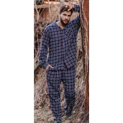 Granatowa piżama flanelowa Key MNS 046 B19 w kratkę M L XL 2XL