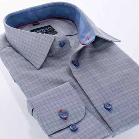 Szara koszula w kratkę Comen długi rękaw - slim