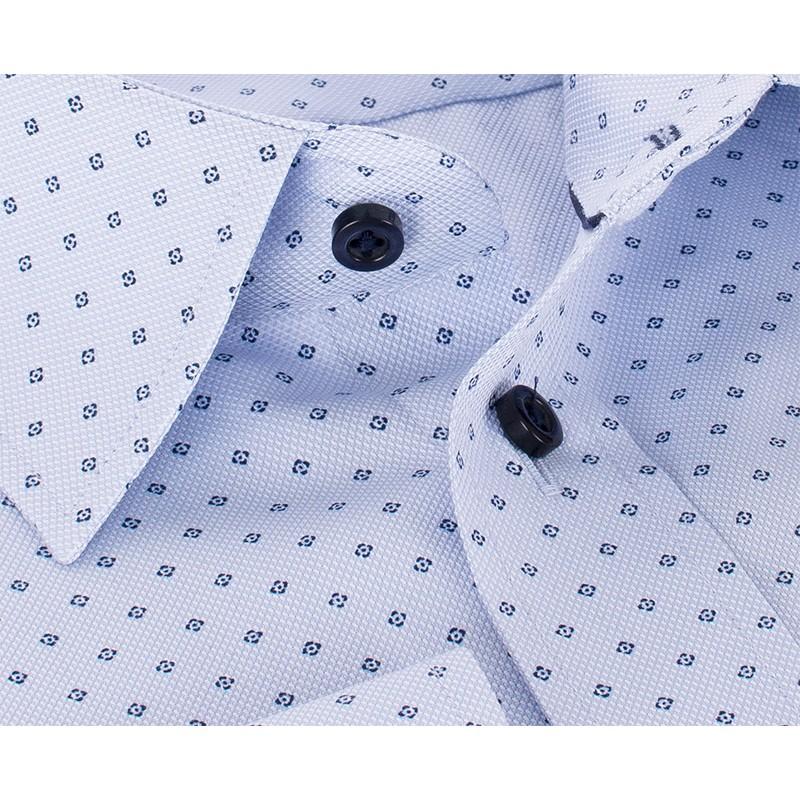 Niebieska koszula ze wzorkiem Comen długi rękaw - slim