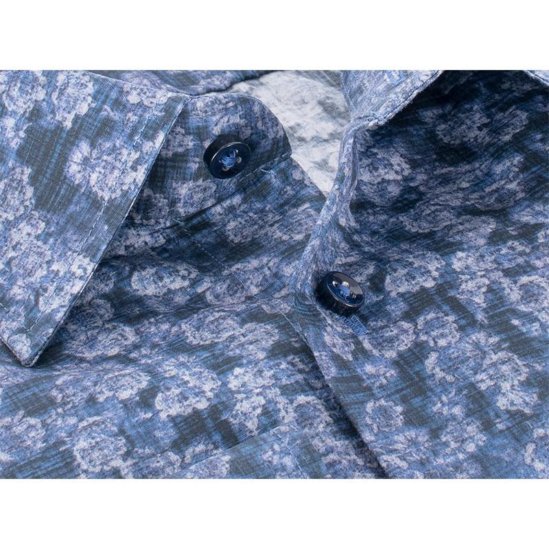 Wzorzysta, niebieska koszula Comen z długim rękawem - slim