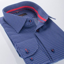 Granatowa koszula ze wzorem Comen długi rękaw 39 40 41 42 43 44 45 46
