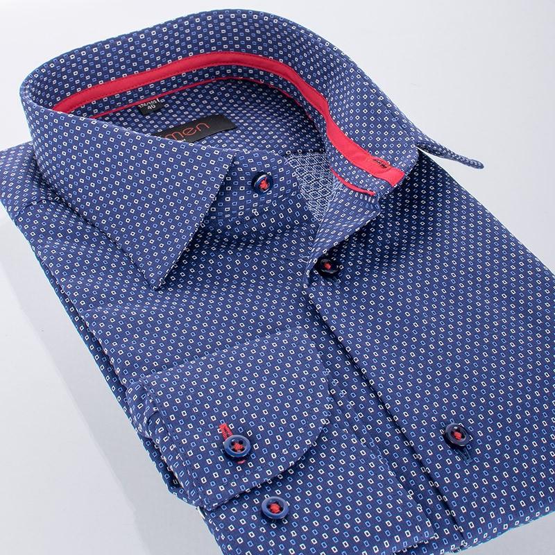Granatowa koszula ze wzorem Comen długi rękaw slim