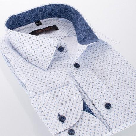 Koszula męska ze wzorem w kółka Comen długi rękaw - slim