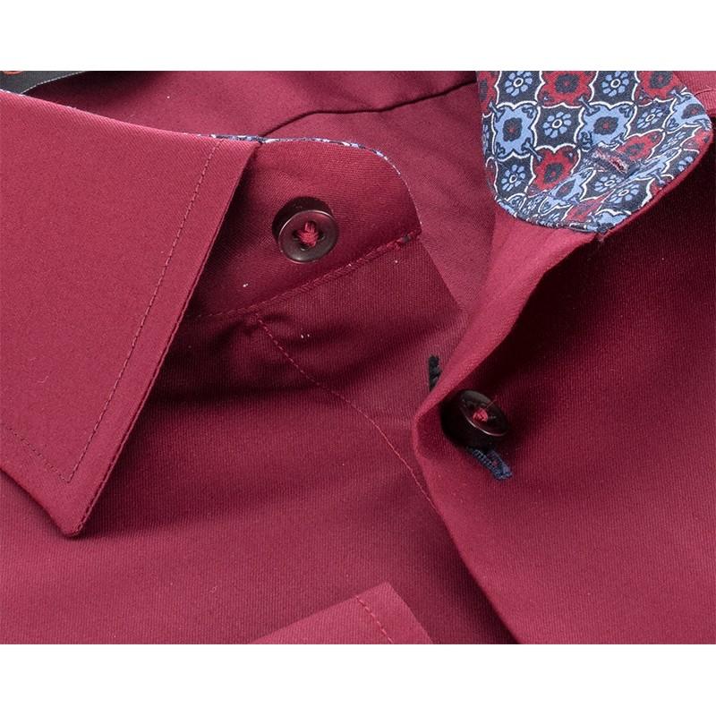 Bordowa koszula Comen slim długi rękaw