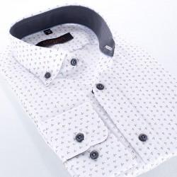 Biała koszula Comen ze wzorem w parasolki, długi rękaw - slim