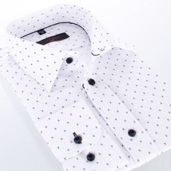 Biała bawełniana koszula Comen długi rękaw - regularny wzór