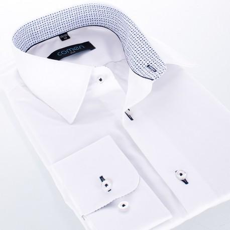 Biała koszula bawełniana Comen długi rękaw - slim