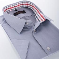 Gładka szara koszula Comen slim krótki rękaw 39 40 41 42 43 44 45 46