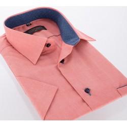 Łososiowa koszula Comen z krótkim rękawem slim 39 40 41 42 43 44 45 46