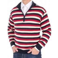 Sweter Kings 11B 3806 928 z krótkim zamkiem w paski r. M L XL 2XL 3XL