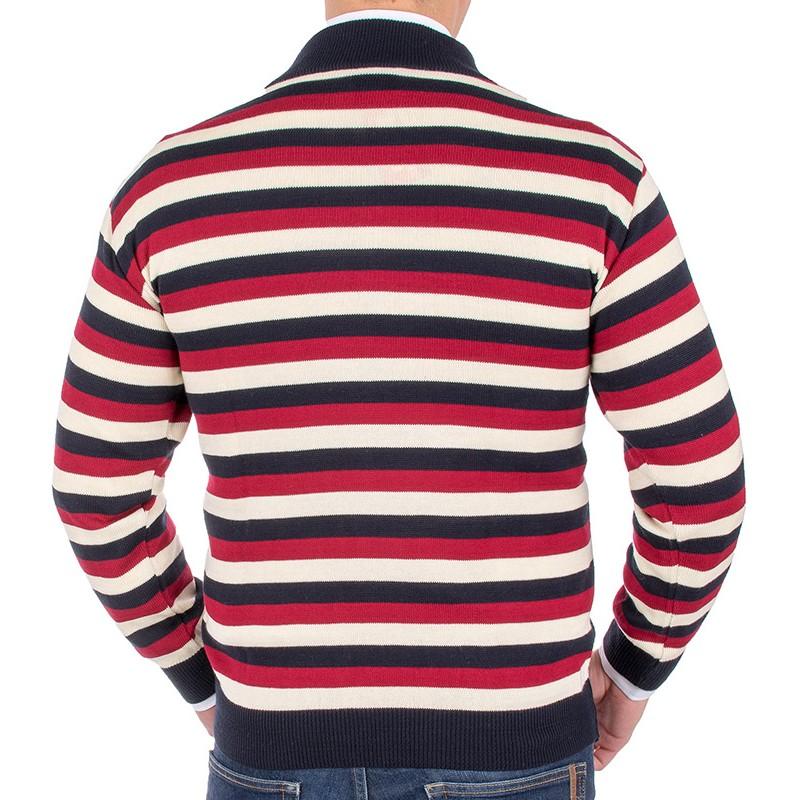 Kolorowy sweter Kings 11B 3806 928 z krótkim zamkiem