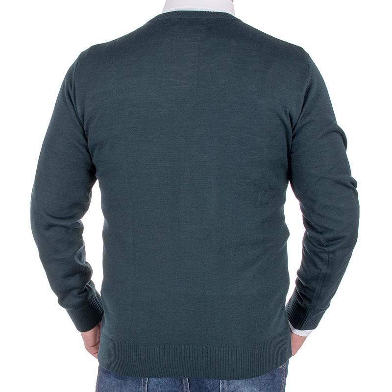 Zielony sweter wełniany Massimo pod szyję
