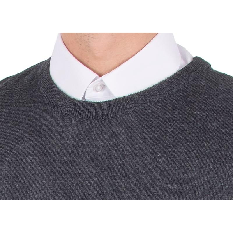 Wełniany sweter Massimo u-neck grafitowy